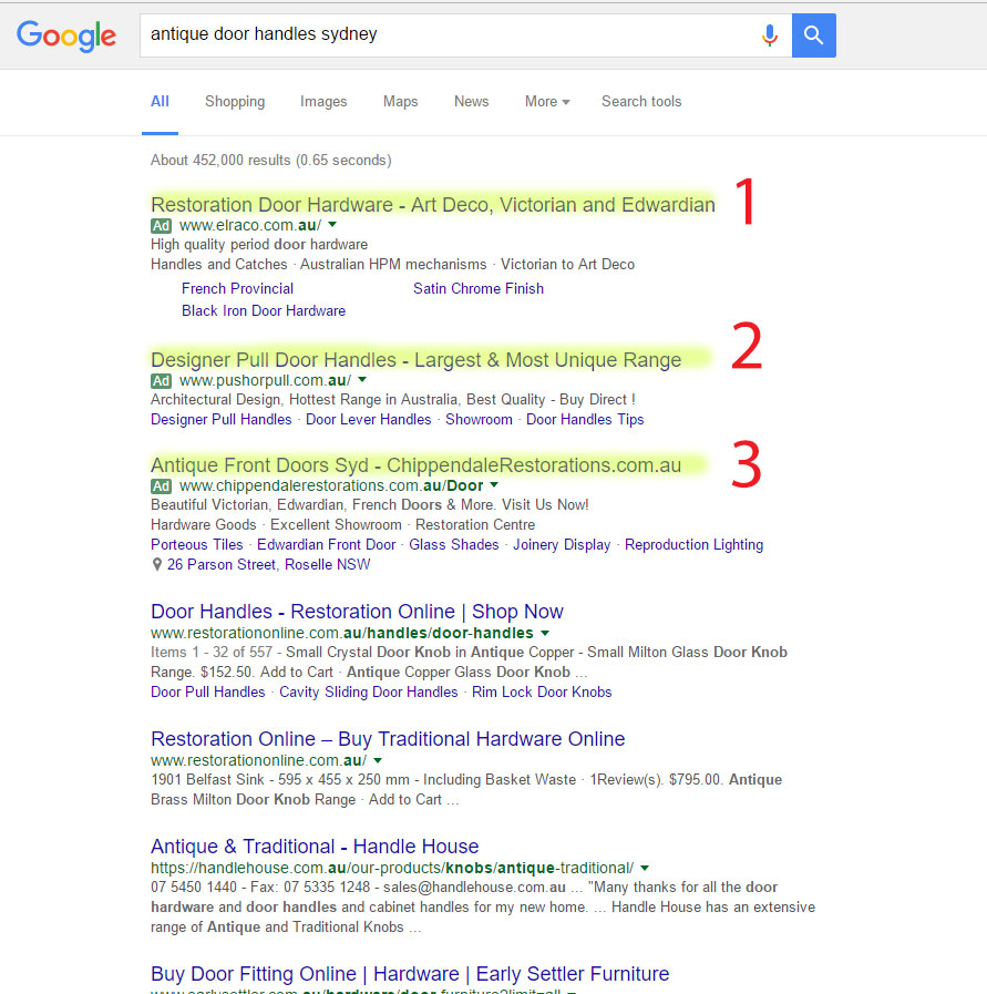 Google Ads Australia Example 1