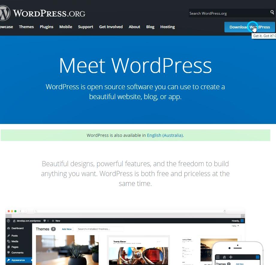 How to install WordPress in Australian English Language